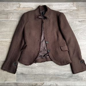 Zara brown tweed blazer jacket